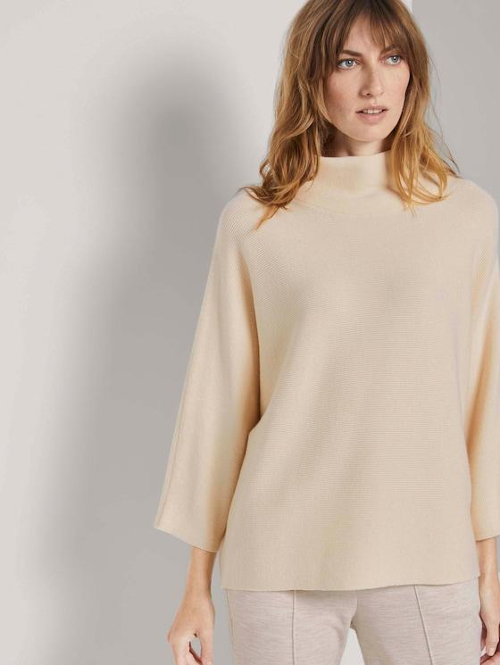 Strukturierter Pullover mit Stehkragen - Frauen - warm sand beige - 5 - TOM TAILOR