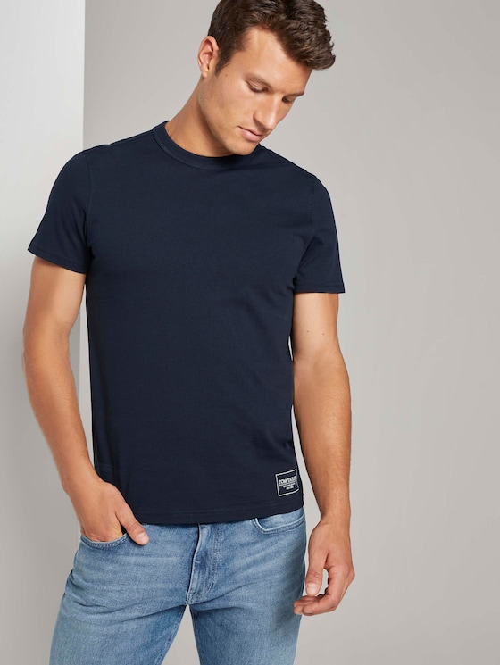 Basic T-Shirt mit Ripp-Blende - Männer - Dark Blue - 5 - TOM TAILOR