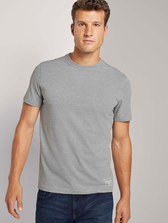 Basic T-Shirt mit Ripp-Blende - Männer - Middle Grey Melange - 5 - TOM TAILOR