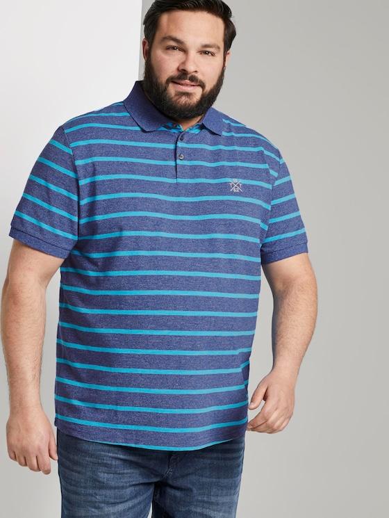 Striped polo shirt with small embroidery - Men - blue melange stripe - 5 - Men Plus
