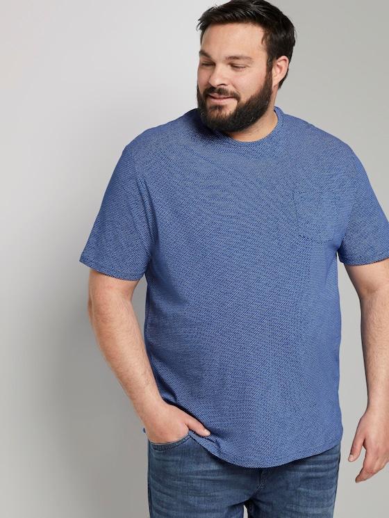 T-Shirt mit Struktur-Print - Männer - violet blue waves design - 5 - Men Plus