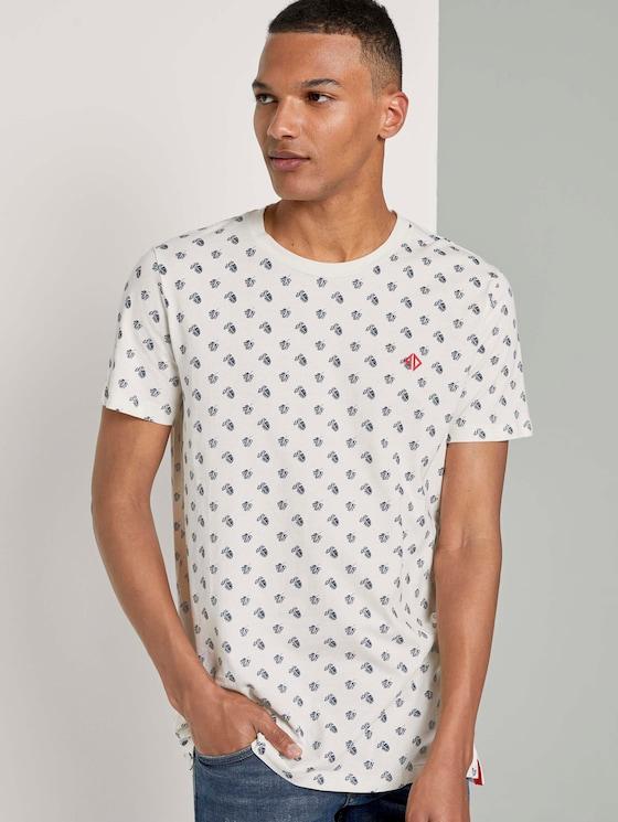 Print T-Shirt mit kleinem Logo - Männer - beige small leaf autumn print - 5 - TOM TAILOR Denim