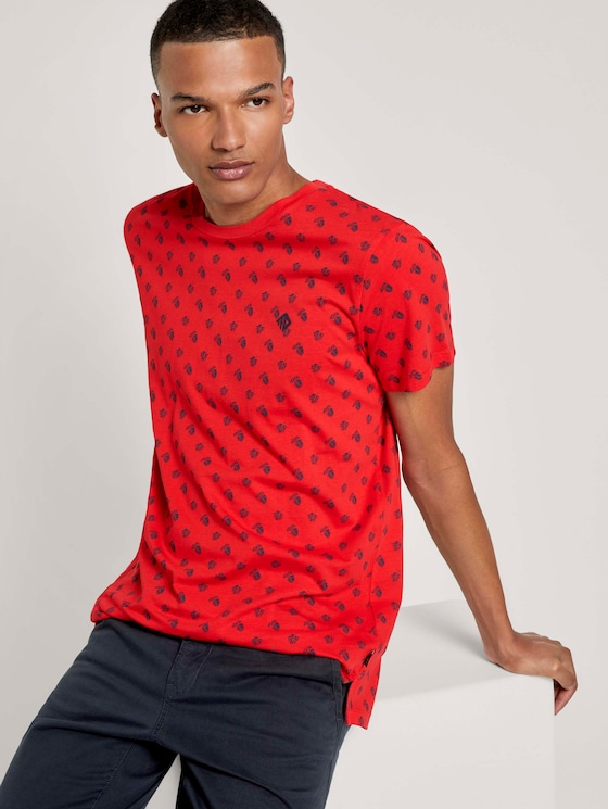 Print T-Shirt mit kleinem Logo - Männer - red small leaf autumn print - 5 - TOM TAILOR Denim