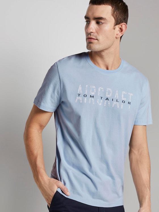T-Shirt mit Schrift-Print - Männer - Kentucky-Blue - 5 - TOM TAILOR
