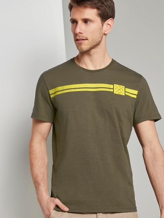 T-Shirt mit Logo-Print - Männer - Olive Night Green - 5 - TOM TAILOR