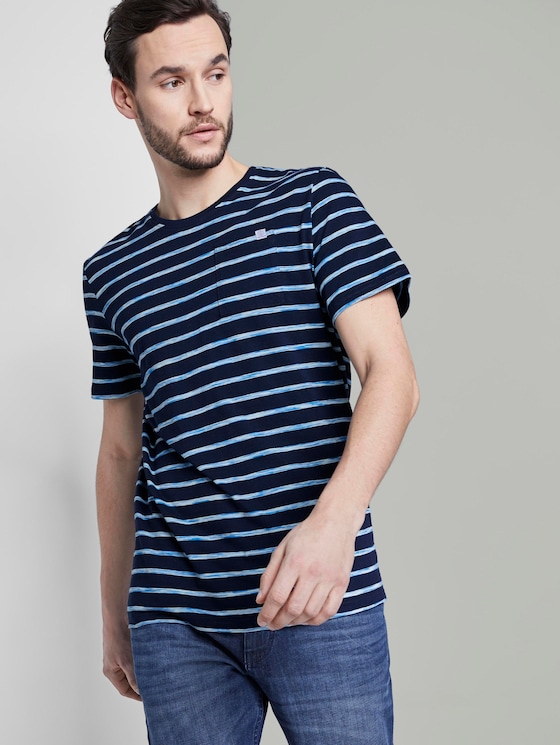 Gestreiftes T-Shirt - Männer - navy blue space dye stripe - 5 - TOM TAILOR