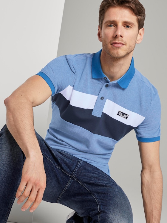 Poloshirt im Colorblocking-Look - Männer - Electric Teal Blue - 5 - TOM TAILOR
