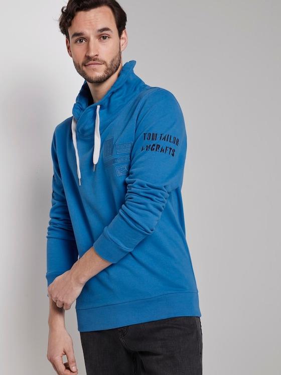 Sweatshirt mit Stehkragen und Print - Männer - Electric Teal Blue - 5 - TOM TAILOR