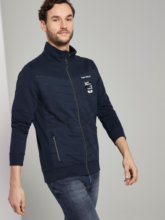 Sweat-jacket with a stand-up collar - Men - Black Iris Blue - 5 - TOM TAILOR