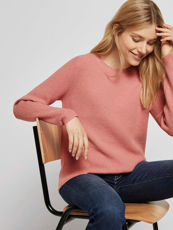 Strukturierter Pullover - Frauen - light aurora rose melange - 5 - TOM TAILOR