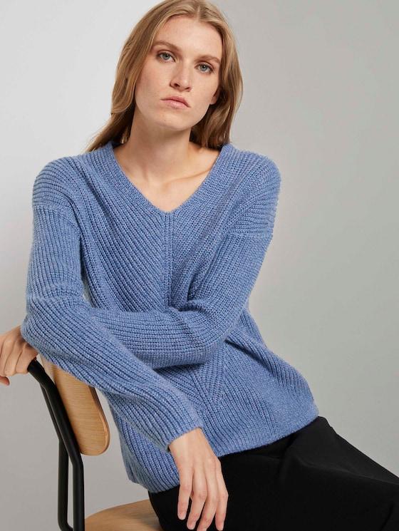 Gebreide trui met V-hals - Vrouwen - blueberry blue melange - 5 - TOM TAILOR
