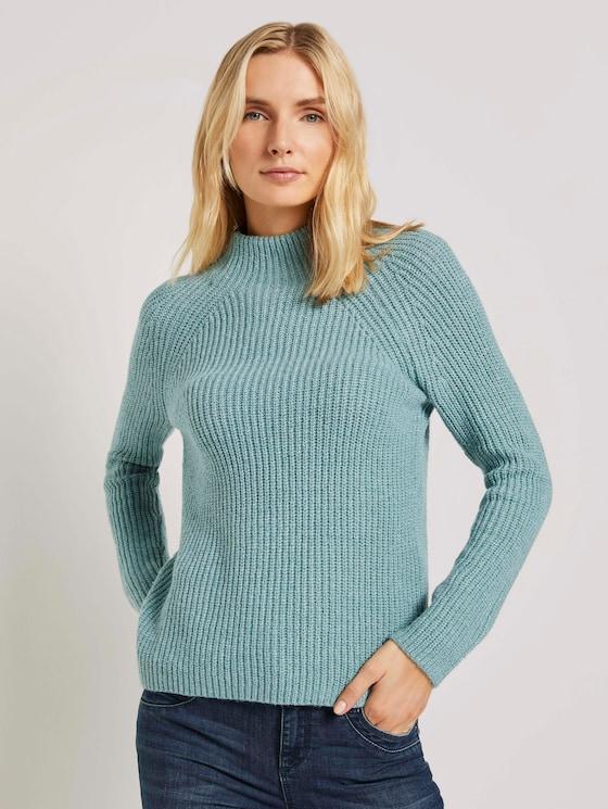 Stehkragen Pullover mit Raglanärmeln - Frauen - salvia green melange - 5 - TOM TAILOR