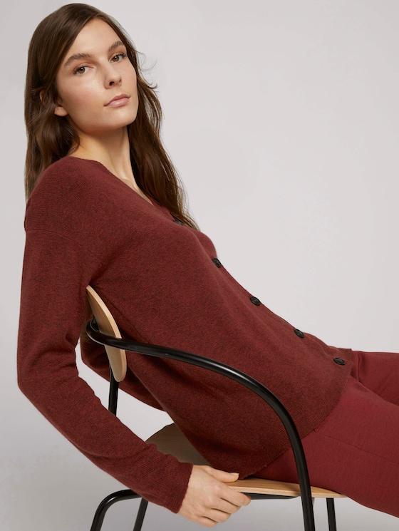 Soft cardigan - Women - dark maroon red melange - 5 - TOM TAILOR