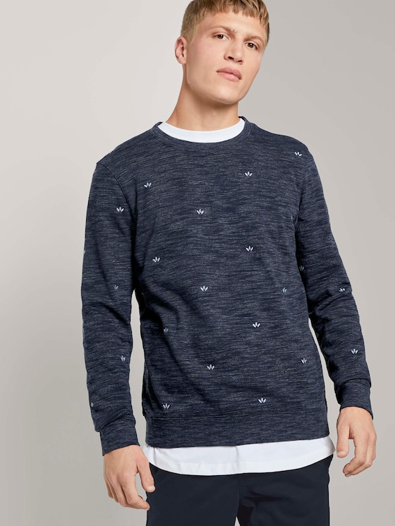 Sweatshirt mit kleinen Stickereien  - Männer - navy leaf symbol embro - 5 - TOM TAILOR Denim