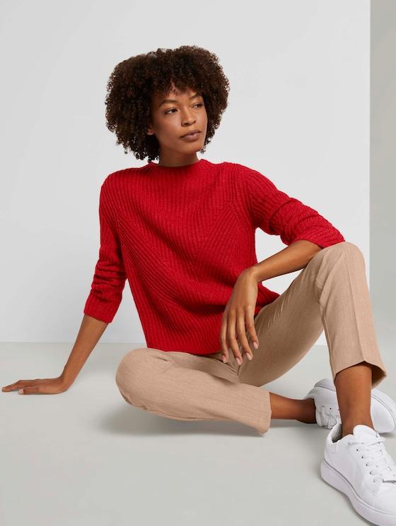 Pullover mit Ripp Struktur - Frauen - dry flower red melange - 5 - Mine to five