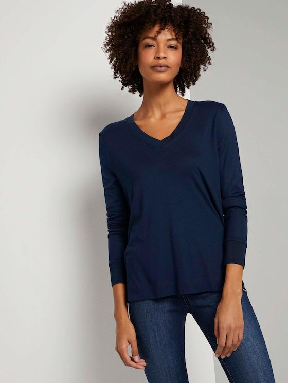 Fließendes Shirt mit Ripp-Bündchen - Frauen - Sky Captain Blue - 5 - Mine to five