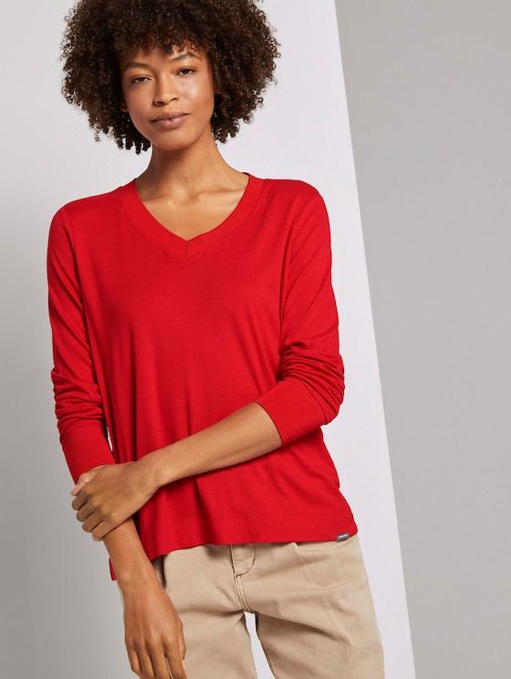 Fließendes Shirt mit Ripp-Bündchen - Frauen - Molten Lava Red - 5 - Mine to five