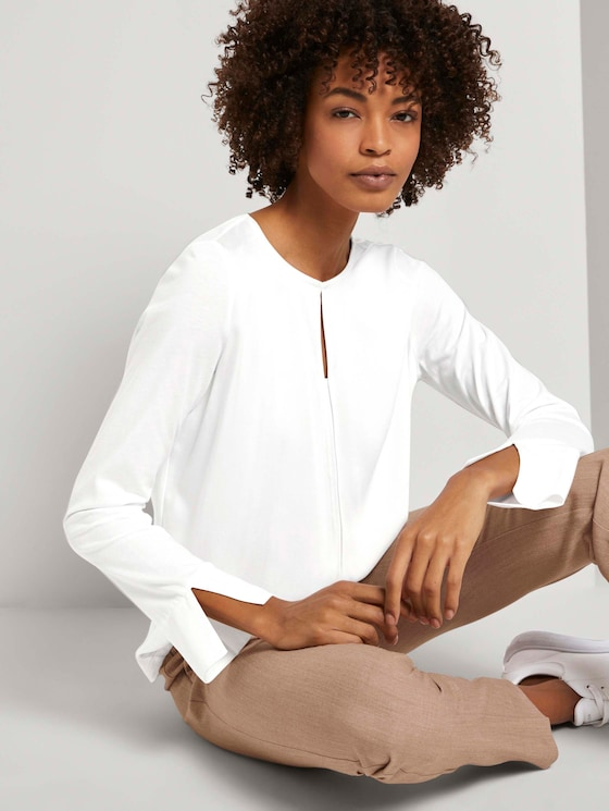 Tunic in a mix of materials - Women - Whisper White - 5 - Mine to five