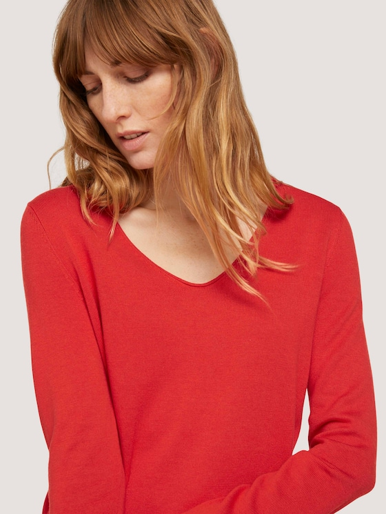 Basic Pullover mit V-Ausschnitt - Frauen - Strong Red - 9 - TOM TAILOR