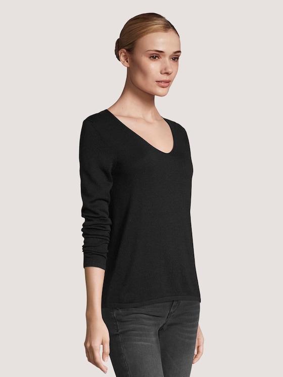 Basic Pullover mit V-Ausschnitt - Frauen - Deep Black - 5 - TOM TAILOR