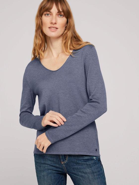 Basic Pullover mit V-Ausschnitt - Frauen - dove grey melange - 5 - TOM TAILOR