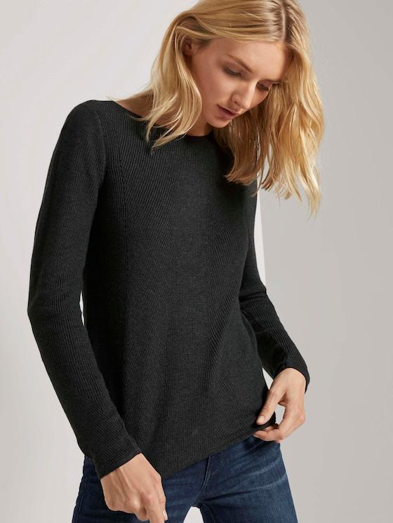 Pullover in Ripp-Optik - Frauen - Coal Grey Melange - 5 - TOM TAILOR