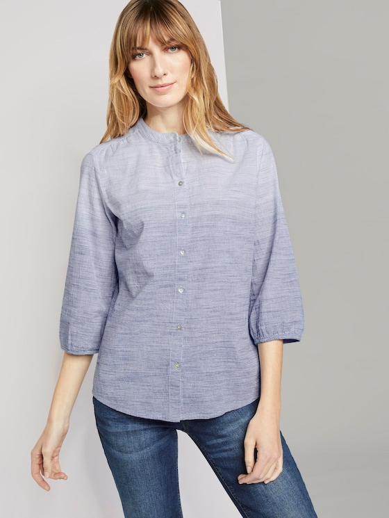 3/4 Arm Bluse mit Muster - Frauen - white navy colorflow stripe - 5 - TOM TAILOR