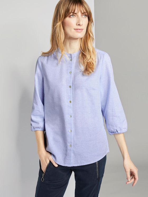 3/4 sleeve blouse with a pattern - Women - white herringbone structure - 5 - TOM TAILOR