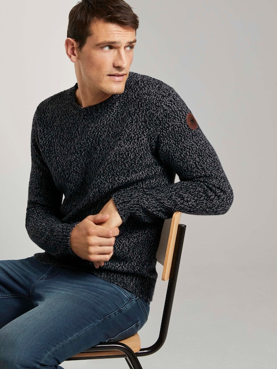 Weicher Pullover in Mélange-Optik - Männer - navy grey mouline - 5 - TOM TAILOR