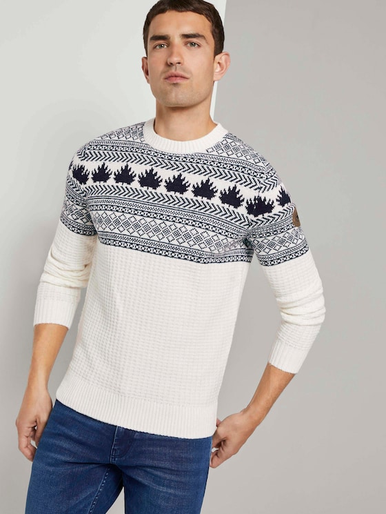 Jacquard Trui met tekening - Mannen - white with navy placed design - 5 - TOM TAILOR