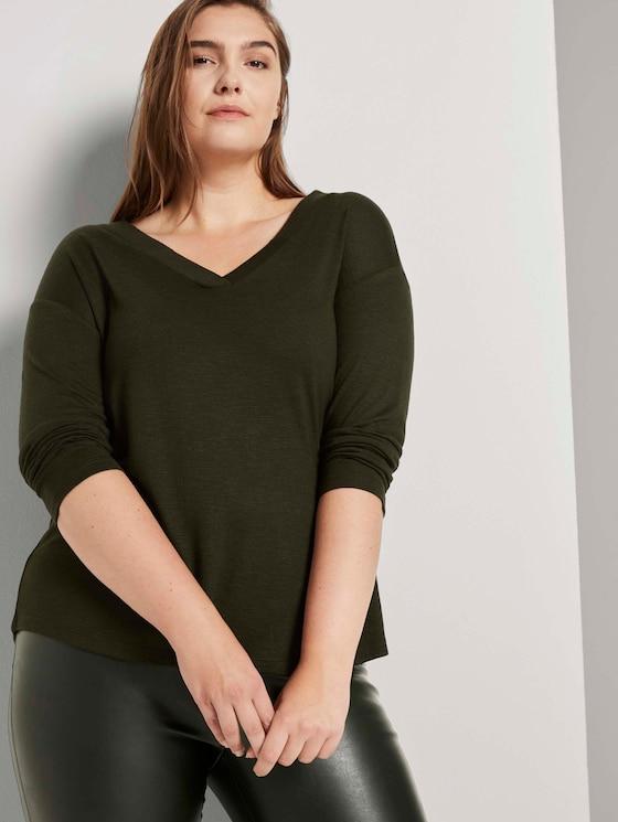 Hemd met lange mouwen en V-hals - Vrouwen - Dark Rosin Green - 5 - My True Me