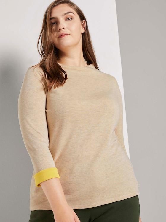 Gevlekt overhemd met opstaande kraag - Vrouwen - sand dune melange - 5 - My True Me
