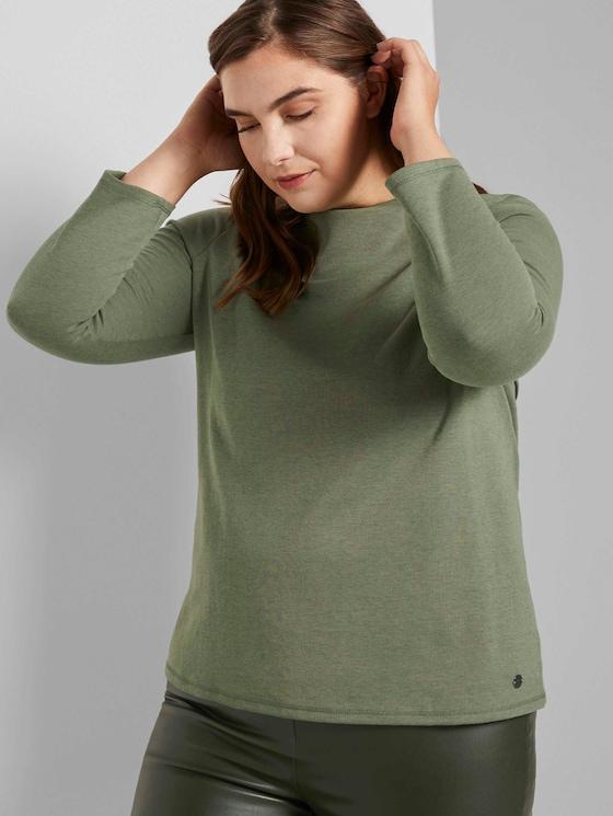 Meliertes Shirt mit Stehkragen - Frauen - greyish green melange - 5 - My True Me