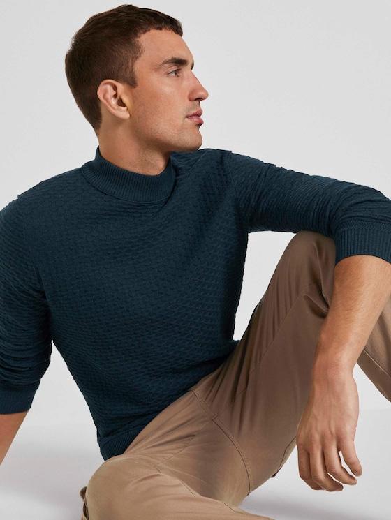 Strukturierter Mouline Pullover - Männer - navy green knitted structure - 5 - TOM TAILOR