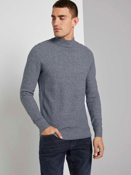 Strukturierter Mouline Pullover - Männer - grey navy knitted structure - 5 - TOM TAILOR