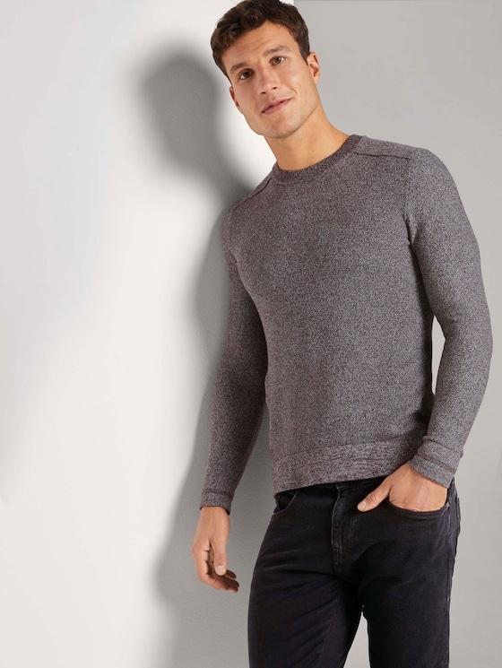 Fein strukturierter Pullover - Männer - dark wineberry melange - 5 - TOM TAILOR