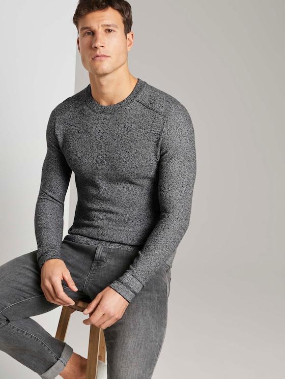 Fein strukturierter Pullover - Männer - Black - 5 - TOM TAILOR