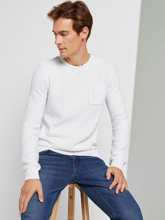 Strukturierter Strickpullover - Männer - Light Marsmallow - 5 - TOM TAILOR