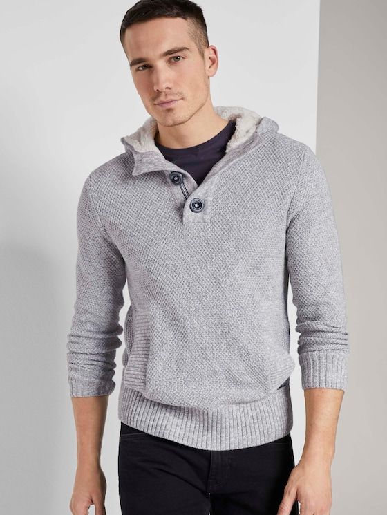 Strick Hoodie mit gefütterter Kapuze - Männer - Grey Heather Melange - 5 - TOM TAILOR