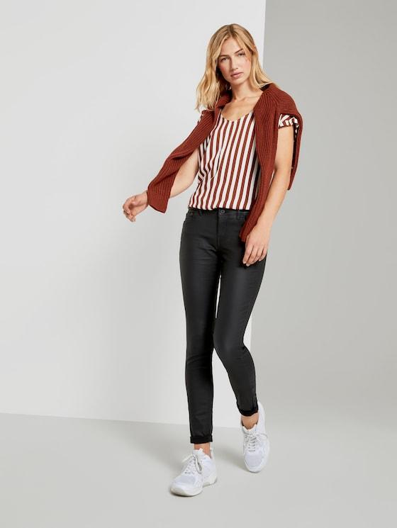 Jona Extra Skinny Jeans in Lederoptik - Frauen - coated   black denim - 3 - TOM TAILOR Denim