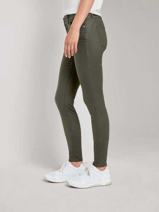 Jona Extra Skinny Jeans in Lederoptik - Frauen - dark green - 3 - TOM TAILOR Denim