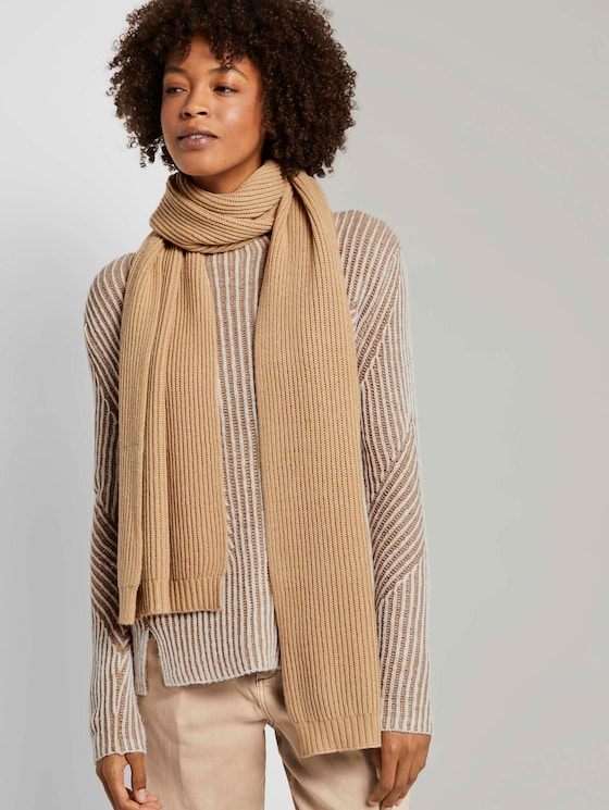 Ribbed scarf - Women - cream beige - 5 - Mine to five
