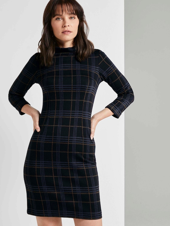 Kariertes Kleid mit Rollkragen - Frauen - navy blue camel check - 5 - TOM TAILOR