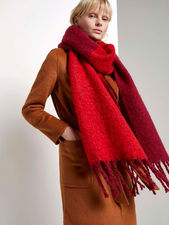 Soft oversized scarf with coloured stripes - Women - Molten Lava Red - 5 - Mine to five