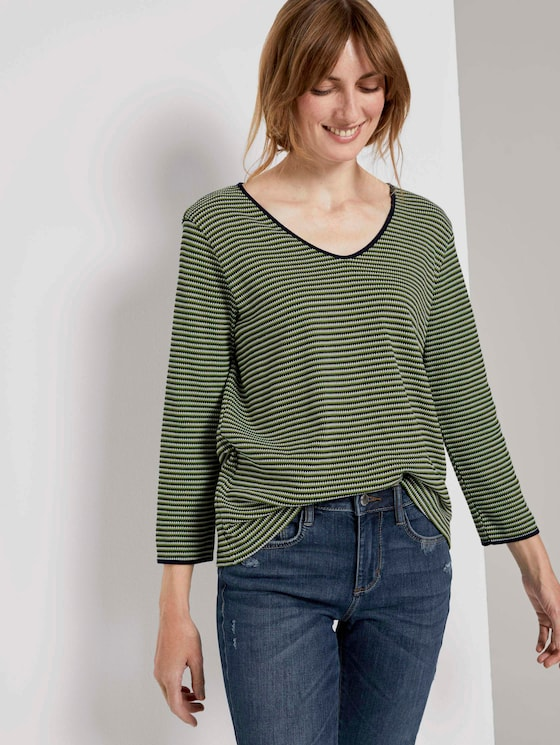 Langarmshirt - Frauen - green navy popcorn structure - 5 - TOM TAILOR