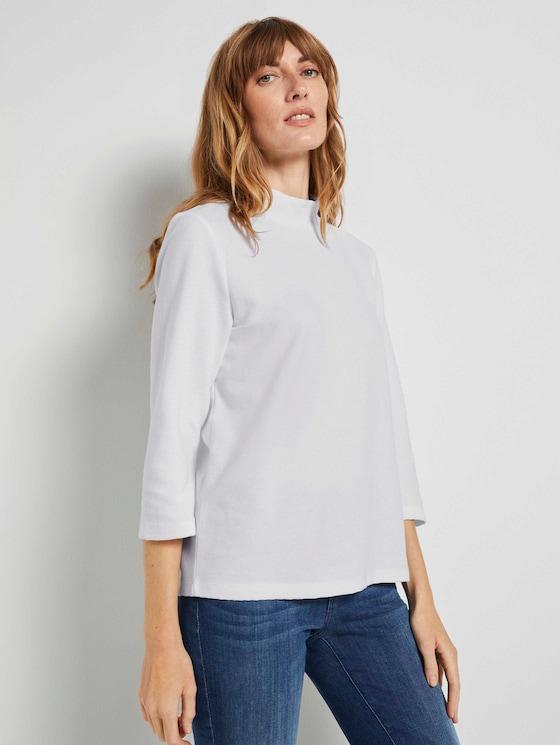 3/4 Arm Shirt mit Ottoman Struktur - Frauen - Whisper White - 5 - TOM TAILOR