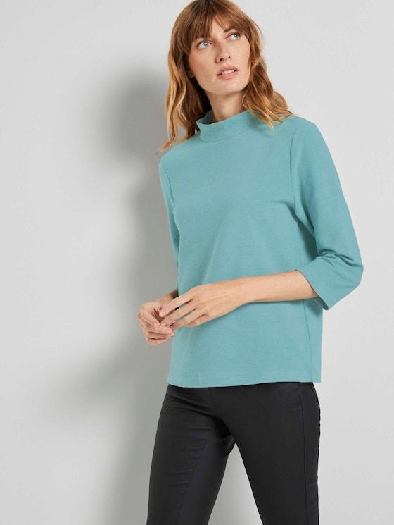 3/4 Arm Shirt mit Ottoman Struktur - Frauen - Salvia - 5 - TOM TAILOR