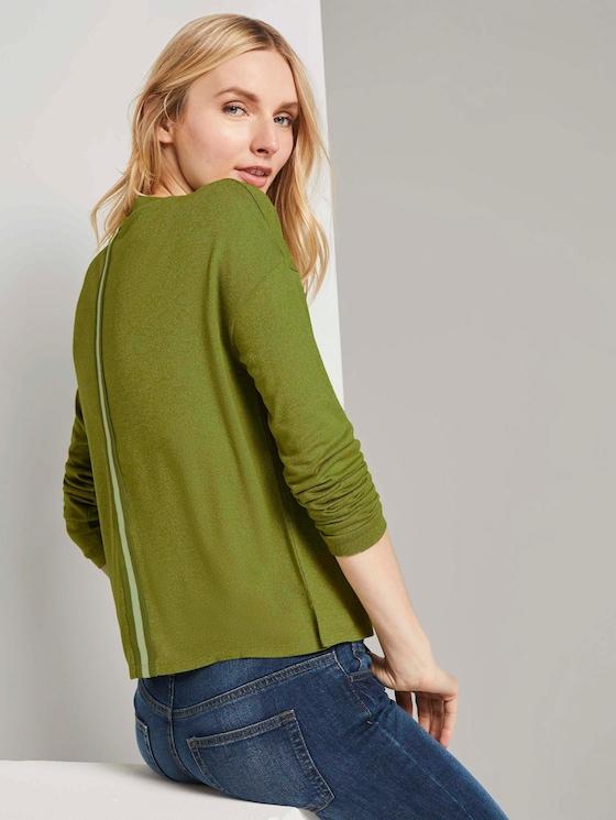 Langarmshirt in Melange Optik - Frauen - wood green melange - 5 - TOM TAILOR