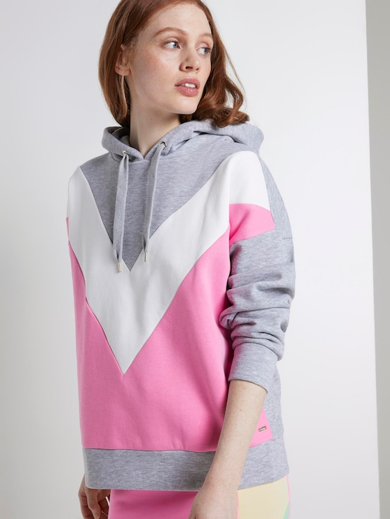 Kapuzen Sweatshirt mit Colorblocking - Frauen - bright pink - 5 - TOM TAILOR Denim