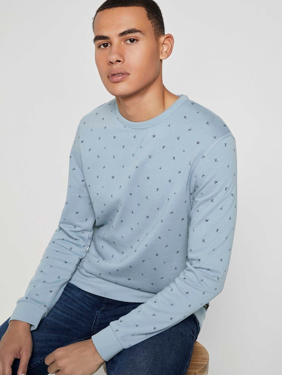 Gemustertes Sweatshirt - Männer - blue organic leaf print - 5 - TOM TAILOR Denim